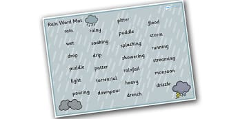 Weather and Seasons Rain Word Mat - weather and seasons, rain word mat, rain, weather and seasons word mat, rain words, weather word mat, raining word mat