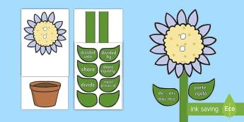 Floarea cu vocabularul împărțirii - matematică, română, operații, înmulțire, împărțire, vocabularul îmărțirii, planșe, deco