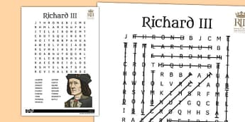 Richard III Wordsearch - richard III, wordsearch, word, search