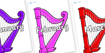Months of the Year on Harps - Months of the Year, Months poster, Months display, display, poster, frieze, Months, month, January, February, March, April, May, June, July, August, September