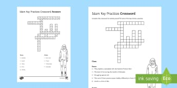Five Pillars of Islam Crossword - Islamic Practices GCSE Material, five pillars islam, crossword, word search