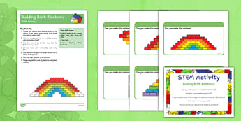 Building Bricks Rainbow STEM Activity - St Patricks Day, building brick, rainbow, stem, activity, colours
