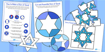 Star of David Jigsaw Set - star of david, jigsaw, judaism, star