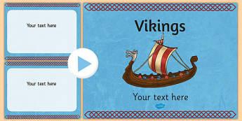 Vikings Themed PowerPoint Template - Vikings, Slides, Template