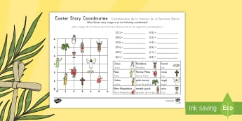 Easter Story Coordinates Activity Sheet US English/Spanish (Latin) - holy week, easter, Maths, worksheet, coordinates, geometry, easter, easter story, first quandrant,