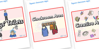 Spain Themed Editable Square Classroom Area Signs (Plain) - Themed Classroom Area Signs, KS1, Banner, Foundation Stage Area Signs, Classroom labels, Area labels, Area Signs, Classroom Areas, Poster, Display, Areas