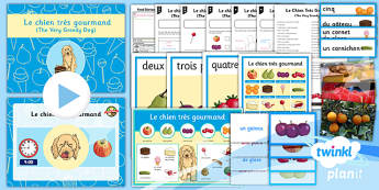 PlanIt - French Year 3 - Food Glorious Food Lesson 1: The Very Greedy Dog Lesson Pack - french, languages, food, story, dog