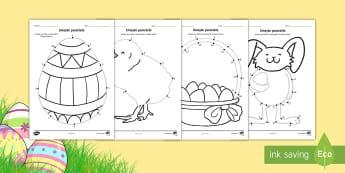 Paștele - Unește punctele și colorează - paste, unește punctele, fișe de colorat, pagini de colorat, materiale, paște, paști, română, ,
