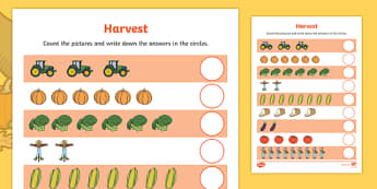 Harvest Counting Worksheet - autumn, seasons, numeracy, count