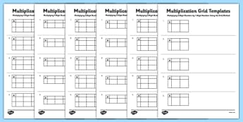 Blank Multiplication Grid Templates - Multiplication, grid method, KS2, key, stage, 2, upper, maths, multiply, formal, written, method