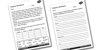 Adaption Worksheet - adaption, adaption information worksheet, animals that adapt, adapting, environments, environments worksheet, ks2 science worksheet