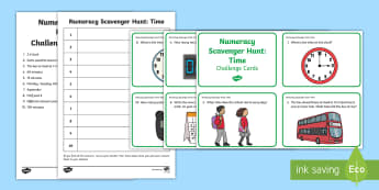 Time Scavenger Hunt - NI, northern ireland, KS1 Numeracy, time, practical maths, group task