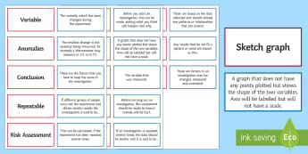 Scientific Enquiry Pairs Glossary Activity - Glossary, scientific enquiry, variables, anomalies, repeatable, risk assessments, sketch graph.