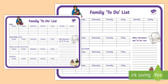 Family To Do  List Planning Template - Young People & Families Case File Recording, referral, chronology, contents page,buddy system, safeg
