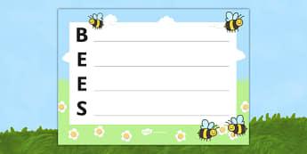 Bees Acrostic Poem - acrostic poems, acrostic poem, acrostic, bees, bee, bees poem, bees poetry, bees acrostic poem template, bees acrostic poem writing frame, poetry writing frame, poem, poetry, literacy, writing activity, activity