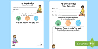 My Book Review Writing Activity Sheet English/German -  book review writing frame, reading, writing, books, EAL, German, English-German,,German-translation
