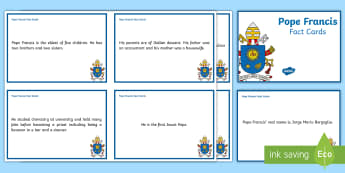Pope Francis Fact Cards - Pope Francis, Pope, Roman Catholic, fact cards, display, interesting facts, important facts,Irish