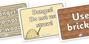 Three Little Pigs Building Site Signs - Three Little Pigs, building, house, signs, caution, danger, banner, poster, pig, building site, bricks , materials, straw, sticks