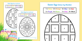 Easter Egg Colouring by Numbers Sheets - colouring, sheets, colouring by numbers, colour by number, easter, easter numbers, easter colouring, easter colouring sheets, counting, numeracy, colour recognition, colouring activity