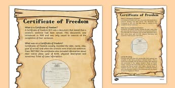 The First Fleet Certificates of Freedom Information Sheet - australia, The First Fleet, certificates, certificates of freedom, information, information sheets, convicts, freedom, freed