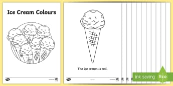 Read and Colour Ice Cream Cone Activity Sheets - Summer, summer season, first day of summer, summer vacation, summertime, colour words, sight words,