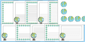 Globe Page Borders - globe, page borders, geography, writing frames