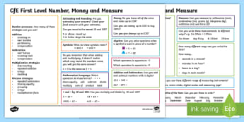 Number, Money and Measure Maths Mat - Maths Assessment, Maths Self Assessment, Maths benchmarks, Numeracy, Maths reference,Scottish