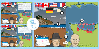 KS1 D-Day Picture Hotspots - History, D-Day, Allies, Normandy, June 6th 1044, Germany, invade, attack, troops, beach, WW2, inform