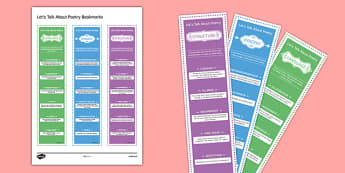 Let's Talk About Poetry Bookmarks - English, GCSE, English Literature, KS3, KS4, Poetry, Poetry Techniques, Poetry Terminology, Keywords, Bookmarks