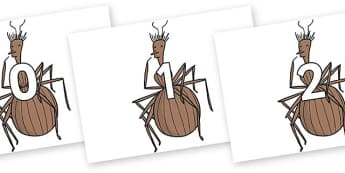 Numbers 0-31 on Miss Spider to Support Teaching on James and the Giant Peach - 0-31, foundation stage numeracy, Number recognition, Number flashcards, counting, number frieze, Display numbers, number posters