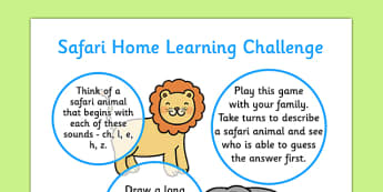 Safari EYFS Home Learning Challenge Sheet Reception FS2 - safari, eyfs, home learning