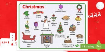 CfE Christmas Word Mat  Scottish Gaelic Translation Word Mat-Scottish
