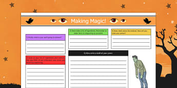 Making Magic Worksheet - making, magic, worksheet, halloween, hallowe'en