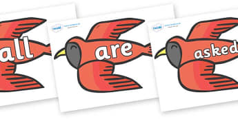 Tricky Words on Red Bird to Support Teaching on Brown Bear, Brown Bear - Tricky words, DfES Letters and Sounds, Letters and sounds, display, words