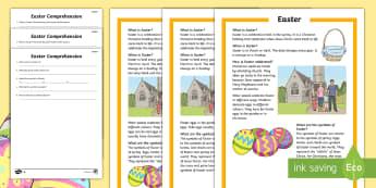 Compréhension écrite différenciée - FR Pâques (Easter) 16th April, cycle 3, compréhension écrite, vocabulaire, culture,French