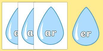 Phase 3 Phonemes on Raindrops - phase 3, phonemes, raindrops, display