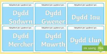 Matiau Toes Dyddiau'r Wythnos - Mat toes dyddiau'r wythnos, dyddiau'r wythnos, matiau toes,,Welsh