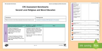 CfE Second Level Religious and Moral Education Benchmarks Assessment Tracker-Scottish - CfE Benchmarks, tracking, assessing, progression, numeracy, literacy, health and wellbeing, RME, Rel