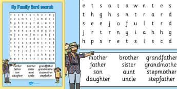My Family Word Search - my family, wordsearch, word search, family
