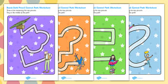Roald Dahl Themed Pencil Control Path Worksheets - stories