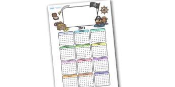 Editable 2013 Calendar Pirate - calendar, editable calendar, months of the year, display calendar, display, pirate, pirates, pirate calendar, pirate themed calendar, display poster, poster, the year, 2013, 2013 calendar