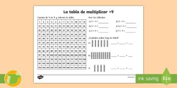 Ficha de actividad: La tabla de multiplicar x9 - tabla de multiplicar, múltiplos, ficha, mates, matemáticas, x9, por nueve, multiplicar, multiplica