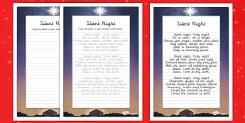 Silent Night Christmas Carol Handwriting Practice - christmas carol, handwriting, practice