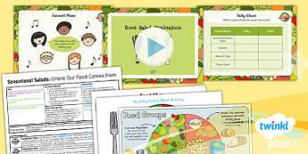 D&T KS1 Sensational Salads Lesson 2 Root Salad Evaluation Pack