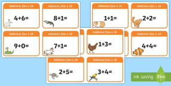 Addizioni fino a 10 Attività - schede, esercizi, problemi, fino, a , 10, addizioni, italiano, italian, matematica, materiale, scola