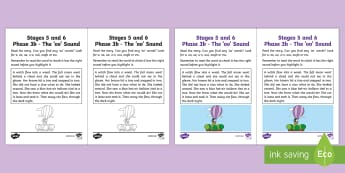 Linguistic Phonics Stage 5 and 6 Phase 3b, 'oo' Sound Activity Sheet - Linguistic Phonics, Phase 3b, Northern Ireland, 'oo' sound, sound search, text,Worksheet