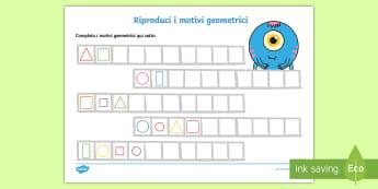 Riproduci i motivi geometrici Attività - forme, misure, motivo, ripeti, disegna, italiano, italian, materiale, scolastico