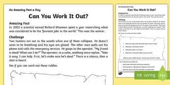 Can You Work it Out? Activity Sheet, worksheet