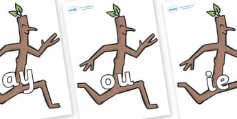 Phase 5 Phonemes on Stick Man to Support Teaching on Stick Man - Phonemes, phoneme, Phase 5, Phase five, Foundation, Literacy, Letters and Sounds, DfES, display