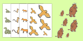 The Gruffalo Size Ordering - the gruffalo, size ordering, size ordering activity, size and shape, size, shape, size arranging, size worksheets, measuring